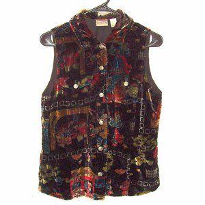 Chico's Velvet Button Down Black Multi-Color Vest